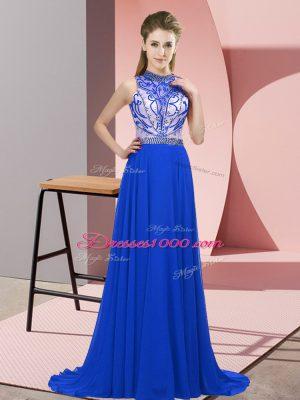 Superior Halter Top Sleeveless Party Dress Wholesale Brush Train Beading Blue Chiffon