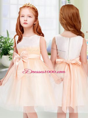 Classical Peach Empire Scoop Sleeveless Tulle Knee Length Zipper Bowknot Toddler Flower Girl Dress