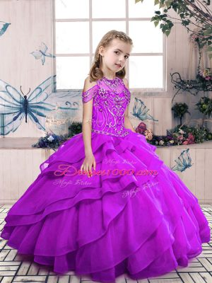 High-neck Sleeveless Lace Up Little Girls Pageant Gowns Purple Organza