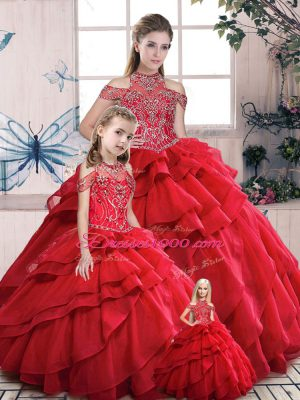 Elegant Organza High-neck Sleeveless Lace Up Beading and Ruffles 15th Birthday Dress in Red