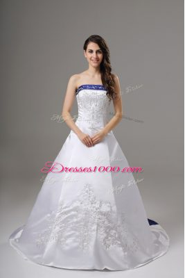 White Lace Up Wedding Dresses Beading and Embroidery Sleeveless Brush Train