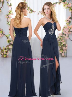 Clearance Navy Blue Chiffon Lace Up Sweetheart Sleeveless Floor Length Quinceanera Court Dresses Beading and Ruffles