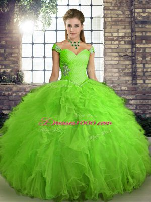 Lovely Ball Gowns Quince Ball Gowns Off The Shoulder Tulle Sleeveless Floor Length Lace Up
