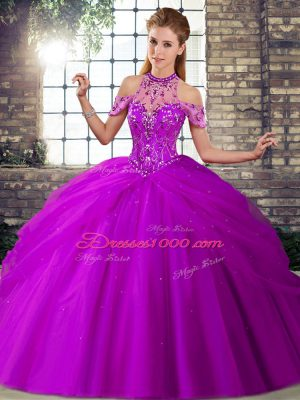 Purple Halter Top Neckline Beading and Pick Ups Sweet 16 Quinceanera Dress Sleeveless Lace Up
