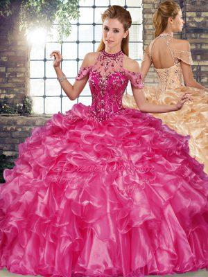 Fuchsia Sleeveless Beading and Ruffles Floor Length Quinceanera Gowns