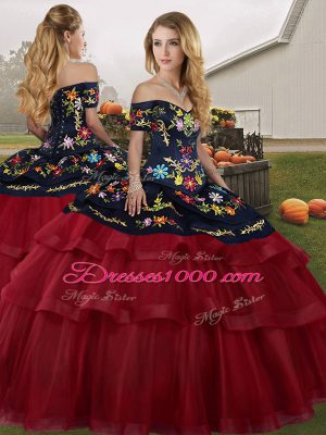 Sleeveless Tulle Brush Train Lace Up Vestidos de Quinceanera in Wine Red with Embroidery and Ruffled Layers