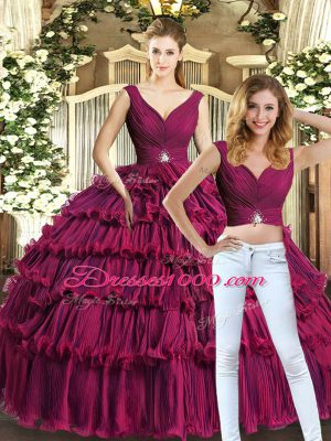 Burgundy Ball Gowns Beading and Ruffled Layers Ball Gown Prom Dress Backless Organza Sleeveless Floor Length