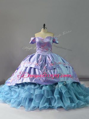 Blue Ball Gowns Off The Shoulder Sleeveless Organza Chapel Train Lace Up Ruffles Sweet 16 Quinceanera Dress