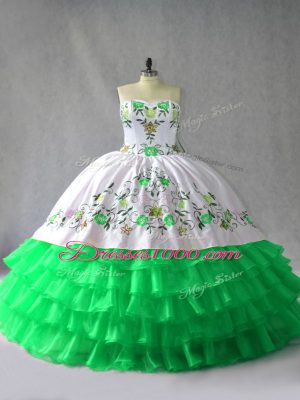 Embroidery and Ruffled Layers 15 Quinceanera Dress Green Lace Up Sleeveless Floor Length