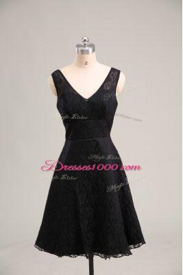 V-neck Sleeveless Zipper Homecoming Dress Black Lace