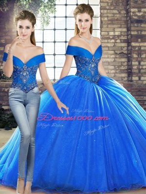 Great Sleeveless Organza Brush Train Lace Up 15 Quinceanera Dress in Royal Blue with Beading