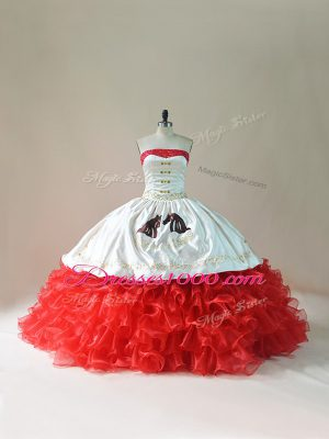 Captivating White And Red Sleeveless Brush Train Embroidery and Ruffles Floor Length 15 Quinceanera Dress
