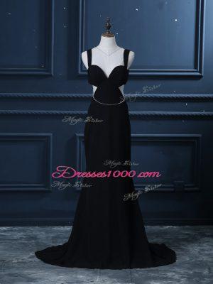 Brush Train Mermaid Prom Dresses Black Straps Chiffon Sleeveless Backless