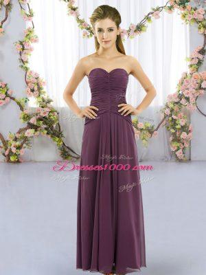 Dynamic Dark Purple Empire Ruching Bridesmaid Dresses Lace Up Chiffon Sleeveless Floor Length