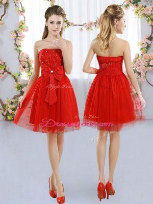 Strapless Sleeveless Side Zipper Court Dresses for Sweet 16 Red Tulle