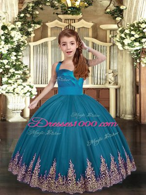 Teal Kids Pageant Dress Party and Wedding Party with Appliques and Ruching Straps Sleeveless Lace Up