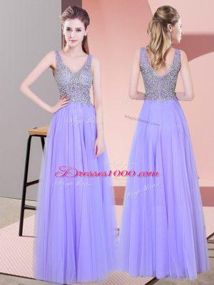 Tulle V-neck Sleeveless Zipper Beading Prom Gown in Lavender