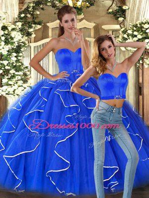 Floor Length Blue 15th Birthday Dress Tulle Sleeveless Ruffles