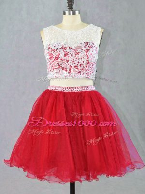 Mini Length Red Prom Dress Organza Sleeveless Lace and Appliques