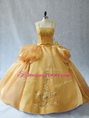 Appliques Ball Gown Prom Dress Gold Lace Up Sleeveless Floor Length