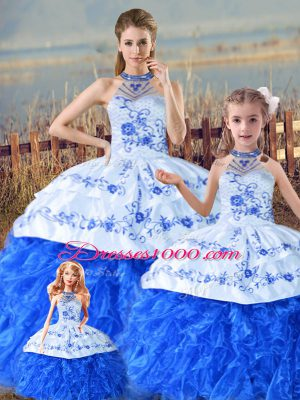 Floor Length Blue And White Ball Gown Prom Dress Halter Top Sleeveless Court Train Lace Up