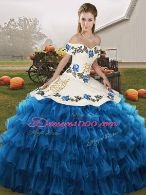 Blue And White Lace Up Sweet 16 Dress Embroidery and Ruffled Layers Sleeveless Floor Length