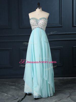 Light Blue Sweetheart Zipper Beading Evening Dress Sleeveless