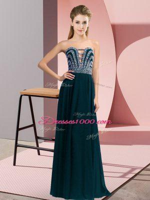 Fabulous Sweetheart Sleeveless Lace Up Evening Dress Teal Chiffon