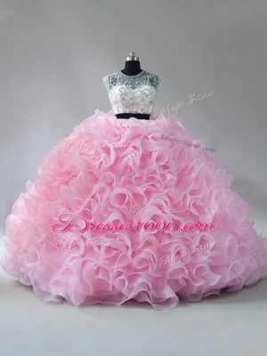Baby Pink Zipper Quinceanera Gown Beading and Ruffles Sleeveless Brush Train