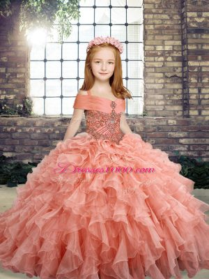 Peach Child Pageant Dress Party and Wedding Party with Beading and Ruffles Straps Sleeveless Lace Up