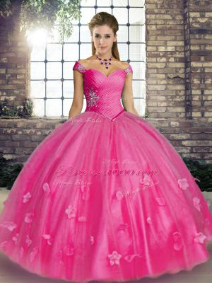 Hot Pink Sleeveless Tulle Lace Up Ball Gown Prom Dress for Military Ball and Sweet 16 and Quinceanera