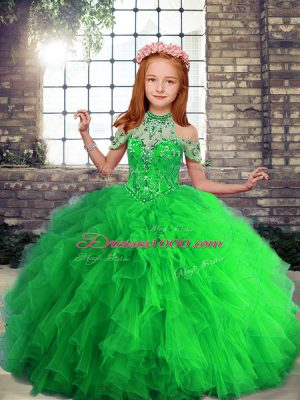 Stunning Lace Up High-neck Beading and Ruffles Little Girl Pageant Gowns Tulle Sleeveless