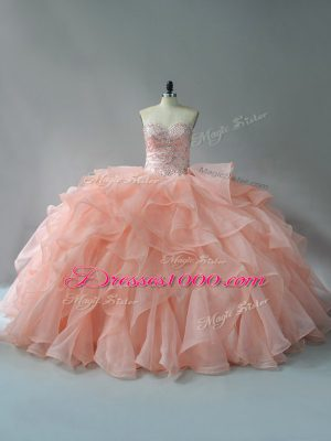 Chic Peach 15 Quinceanera Dress Sweetheart Sleeveless Brush Train Lace Up