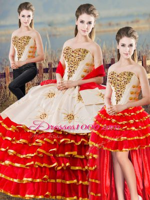 Modest Ball Gowns 15 Quinceanera Dress White And Red Sweetheart Sleeveless Floor Length Lace Up