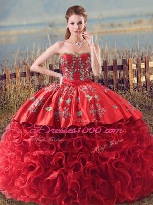 Unique Coral Red Sleeveless Fabric With Rolling Flowers Brush Train Lace Up 15th Birthday Dress for Sweet 16 and Quinceanera