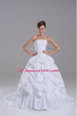 Strapless Sleeveless Taffeta Wedding Dress Lace and Pick Ups Brush Train Lace Up