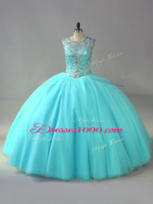 Scoop Sleeveless Organza Quince Ball Gowns Beading Lace Up