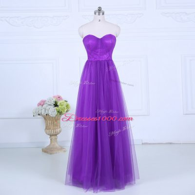 Smart Floor Length Empire Sleeveless Eggplant Purple Quinceanera Court of Honor Dress Zipper