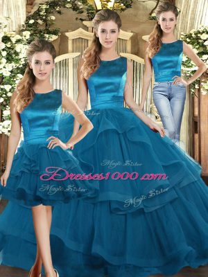 Dramatic Three Pieces Quinceanera Gowns Teal Scoop Tulle Sleeveless Floor Length Lace Up