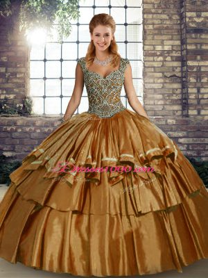 Charming Brown Ball Gowns Beading and Ruffled Layers Ball Gown Prom Dress Lace Up Taffeta Sleeveless Floor Length