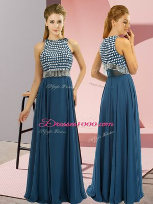 Unique Teal Scoop Side Zipper Beading Prom Party Dress Sleeveless