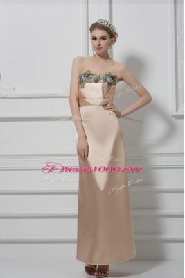 Champagne Column/Sheath Sweetheart Sleeveless Satin Floor Length Lace Up Lace and Appliques Prom Evening Gown