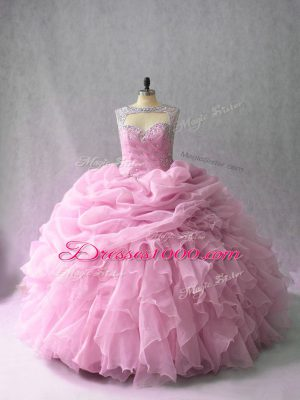 Ball Gowns Sleeveless Pink Quince Ball Gowns Brush Train Lace Up