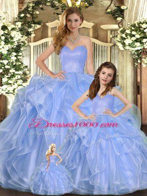 Sexy Floor Length Lavender Quinceanera Dresses Organza Sleeveless Ruffles