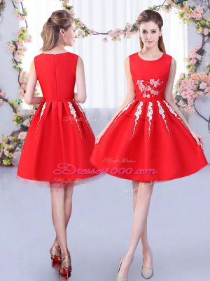 Red Zipper Scoop Appliques Quinceanera Court Dresses Satin and Tulle Sleeveless