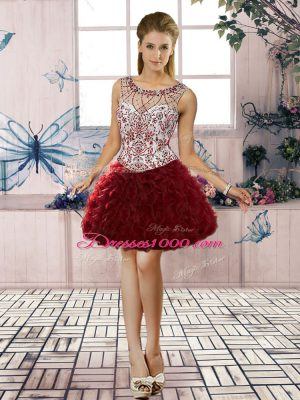 Adorable Scoop Sleeveless Evening Dress Mini Length Beading and Ruffles Burgundy Organza