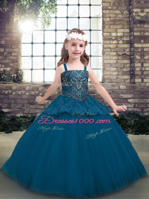 Floor Length Blue Little Girl Pageant Dress Straps Sleeveless Lace Up
