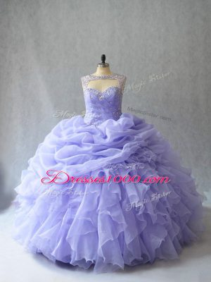 Popular Lavender Scoop Lace Up Beading and Ruffles and Pick Ups Sweet 16 Quinceanera Dress Brush Train Sleeveless
