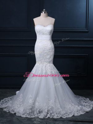 Sleeveless Brush Train Lace Zipper Wedding Dresses