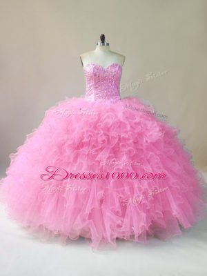 Gorgeous Baby Pink Sleeveless Floor Length Beading and Ruffles Lace Up Quince Ball Gowns